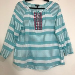 Talbots Blue White Striped Embroidered Blouse